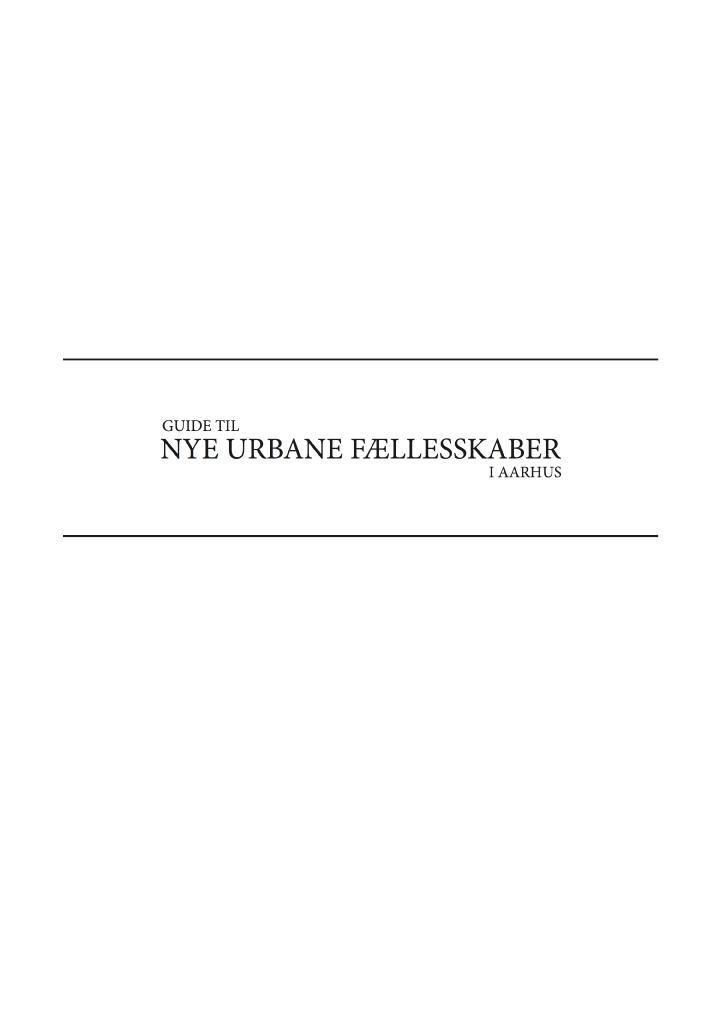 Guide til urbane fællesskaber